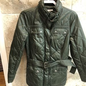 Olive green Esprit  quilted with belt Size 12